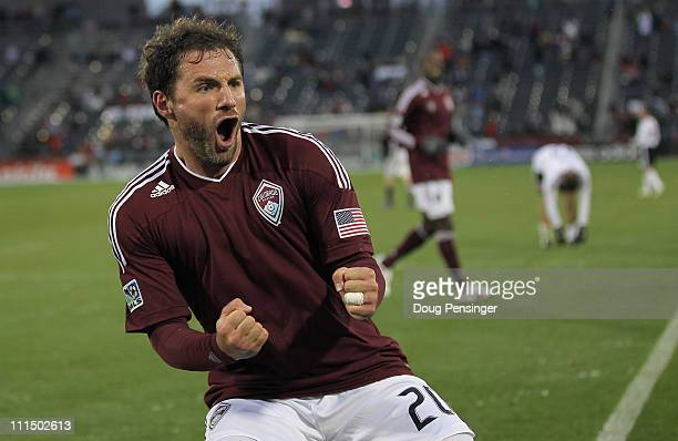Jamie Smith of the Colorado Rapids celebrates his goal in the 71st minute against D.C. United at Dick's Sporting Goods Park on April 3, 2011 in...