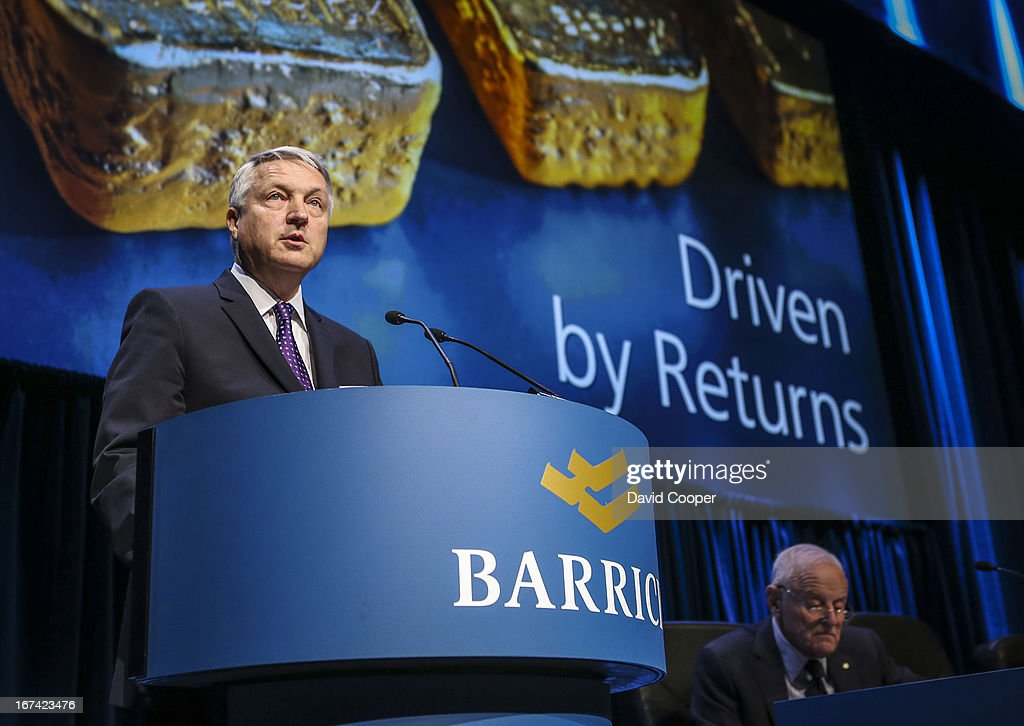 Jamie Sokalsky, President and CEO of Barrick Gold speaking at their Annual General Meeting being held at the Metro Toronto Convention Centre.