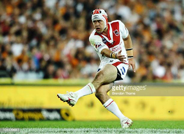 Jamie Soward of the Dragons kicks a field goal during the Second NRL Preliminary Final match between the St George Illawarra Dragons and the Wests...
