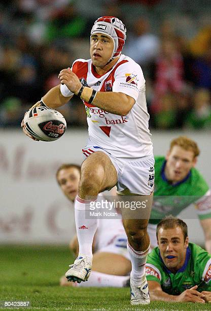 Jamie Soward of the Dragons makes a line break during the round three NRL match between the Canberra Raiders and the St George Illawarra Dragons at...