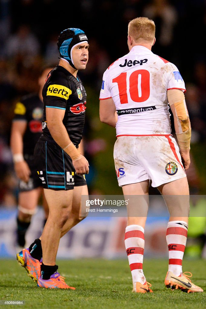 Jamie Soward of the Panthers and Mike Cooper of the Dragons scuffle during the round 14 NRL match between the Penrith Panthers and the St George Illawarra Dragons at Sportingbet Stadium on June 14, 2014 in Sydney, Australia.