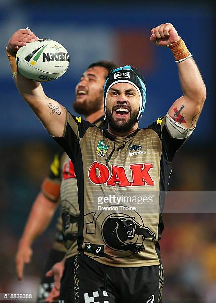 Jamie Soward of the Panthers celebrates after team mate Bryce Cartwright scores the winning try during the round five NRL match between the...