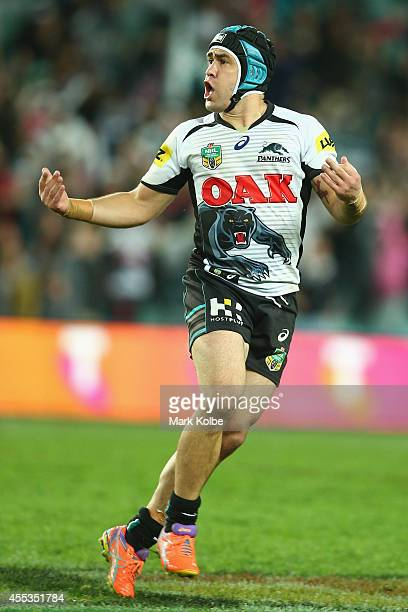 Jamie Soward of the Panthers celebrates kicking a field goal for victory during the NRL 1st Qualifying Final match between the Sydney Roosters and...