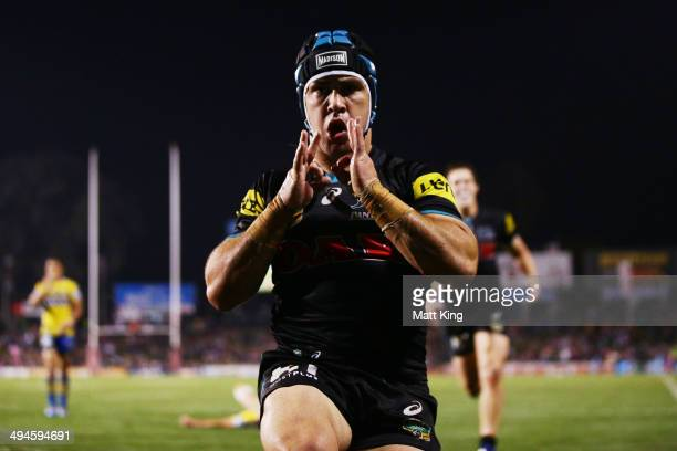 Jamie Soward of the Panthers celebrates scoring the final try during the round 12 NRL match between the Penrith Panthers and the Parramatta Eels at...