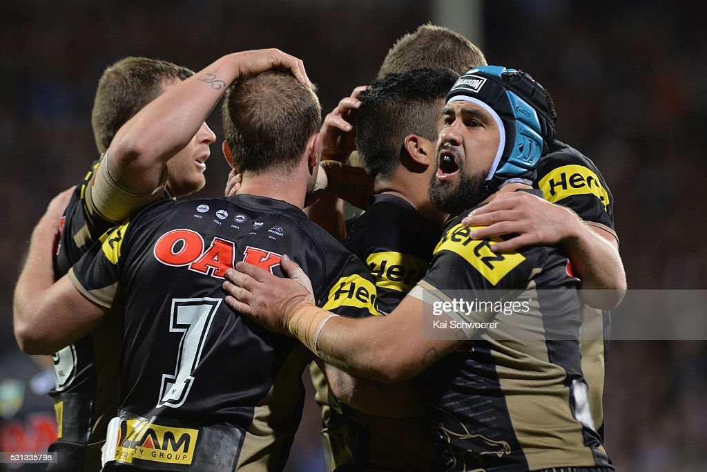 Jamie Soward of the Panthers celebrates with team mates after Tyrone Peachey scored a try during the round 10 NRL match between the Penrith Panthers and the New Zealand Warriors at AMI Stadium on May 14, 2016 in Christchurch, New Zealand.