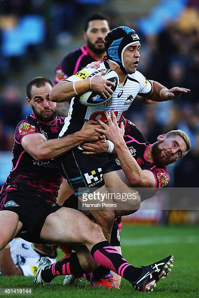 Jamie Soward of the Panthers charges forward during the round 16 NRL match between the New Zealand Warriors and the Penrith Panthers at Mt Smart...