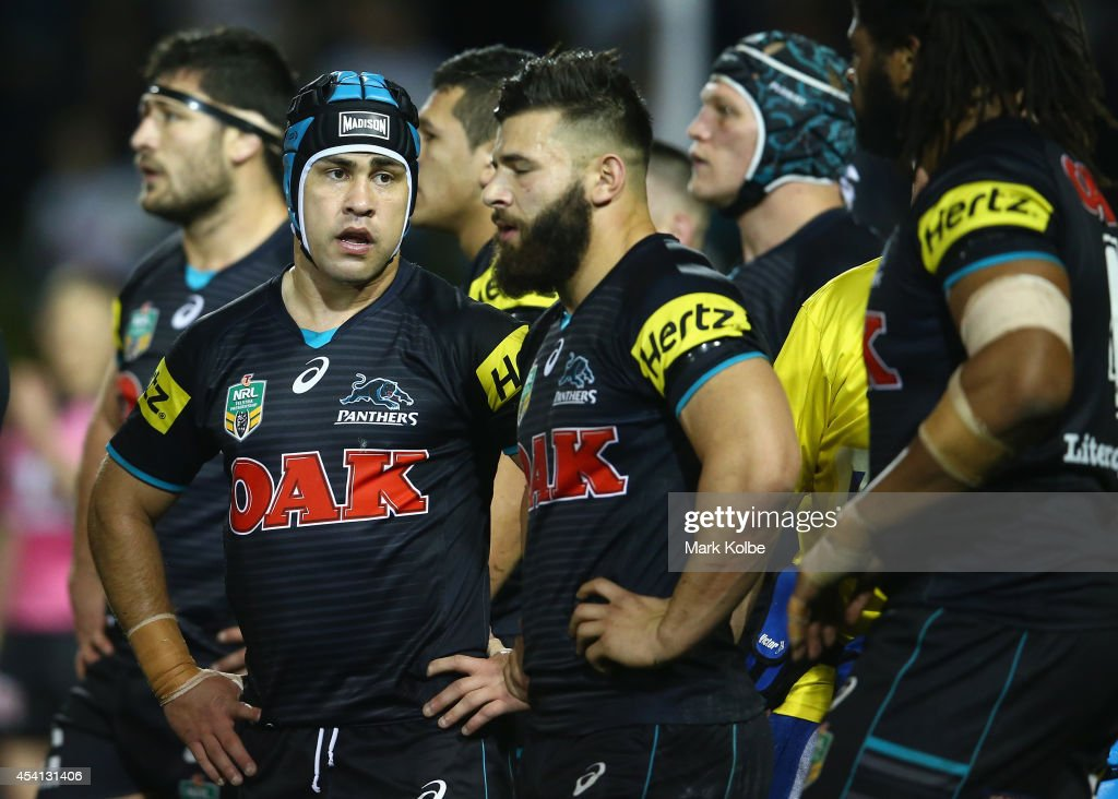 Jamie Soward of the Panthers looks dejected after a Storm try during the round 24 NRL match between the Penrith Panthers and the Melbourne Storm at Sportingbet Stadium on August 25, 2014 in Sydney, Australia.