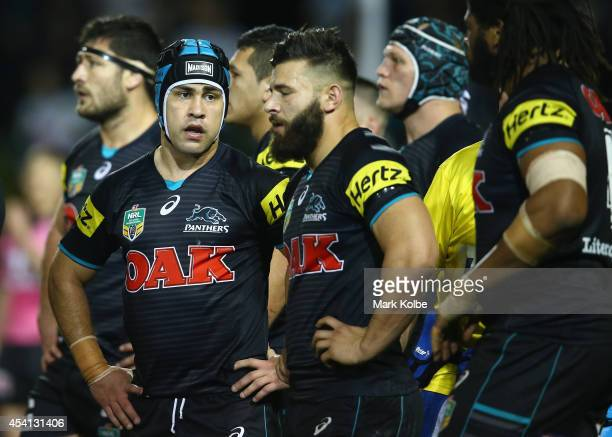 Jamie Soward of the Panthers looks dejected after a Storm try during the round 24 NRL match between the Penrith Panthers and the Melbourne Storm at...