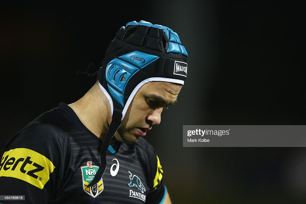 Jamie Soward of the Panthers looks dejected after their defeat during the round 24 NRL match between the Penrith Panthers and the Melbourne Storm at Sportingbet Stadium on August 25, 2014 in Sydney, Australia.