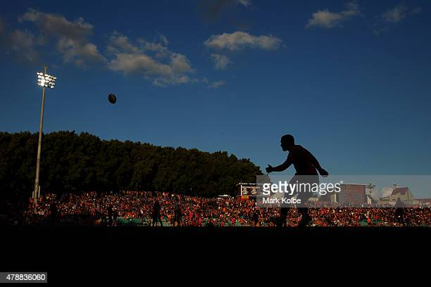 Jamie Soward of the Panthers practises his goal kicking before the round 16 NRL match between the Wests Tigers and the Penrith Panthers at Leichhardt...