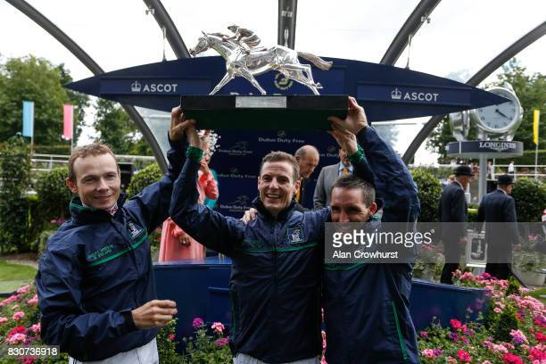 Jamie Spencer Fran Berry and Neil Callan lift the Shergar Cup for Great Britain Ireland at Ascot racecourse on Shergar Cup Day on August 12 2017 in...