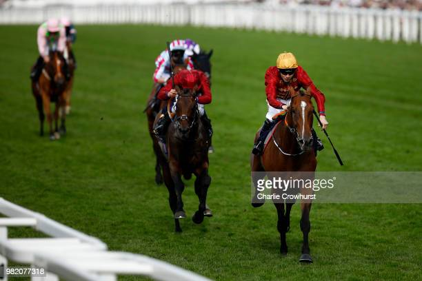 Jamie Spencer rides Pallasator to win in the Queen Alexandra Stakes on day 5 of Royal Ascot at Ascot Racecourse on June 23 2018 in Ascot England