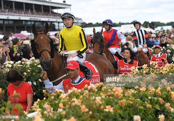 Jamie Spencer riding Big Orange heads to the start of Race 7 the Emirates Melbourne Cup on Melbourne Cup Day at Flemington Racecourse on November 1...