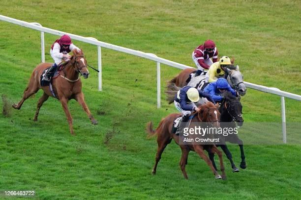 Jamie Spencer riding Coconut win The Unibet British Stallion Studs EBF Maiden Stakes at Newbury Racecourse on August 15 2020 in Newbury England...