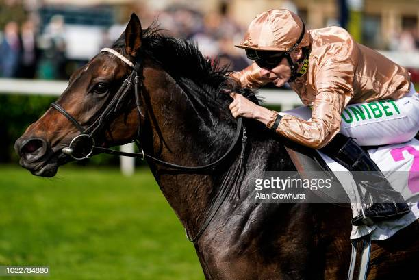 Jamie Spencer riding God Given win The DFS Park Hill Stakes at Doncaster Racecourse on September 13, 2018 in Doncaster, United Kingdom.