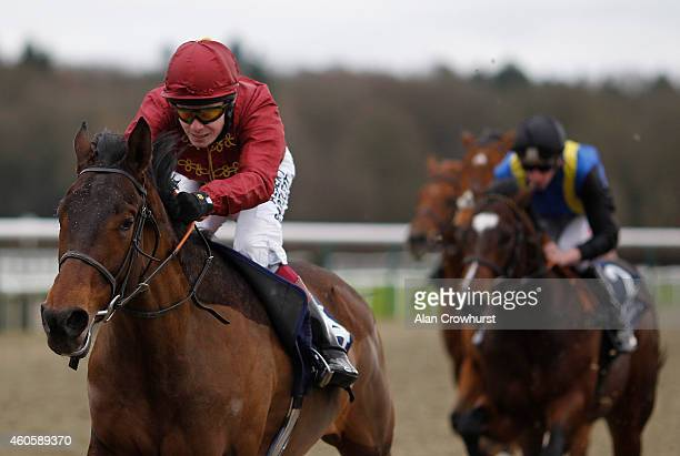 Jamie Spencer riding Master Of Irony wins The 32Red/Irish Stallion Farms EBF Maiden Stakes at Lingfield racecourse on December 17 2014 in Lingfield...