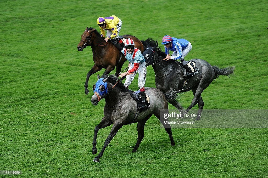 Jamie Spencer riding York Glory reacts after winning the Wokingham Stakesduring day five of Royal Ascot at Ascot Racecourse on June 22, 2013 in Ascot, England.