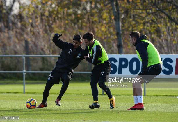 Jamie Sterry challenges Ayoze Perez for the ball during the Newcastle United Training session at the Newcastle Untied Training Centre on November 9...