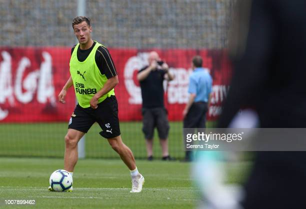 Jamie Sterry controls the ball during the Newcastle United Pre Season Training Session at the Sporting Clube de Braga on July 30 in Braga Portugal