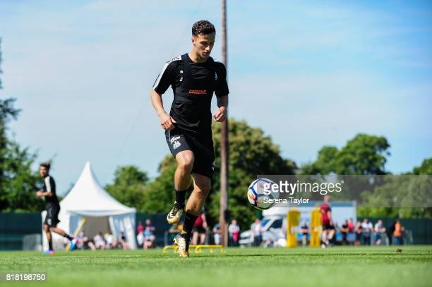Jamie Sterry controls the ball during the Newcastle United Training session at Carton House on July 18 in Maynooth Ireland