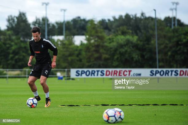 Jamie Sterry controls the ball during the Newcastle United Training session at the Newcastle United Training ground on July 28 in Newcastle upon Tyne...