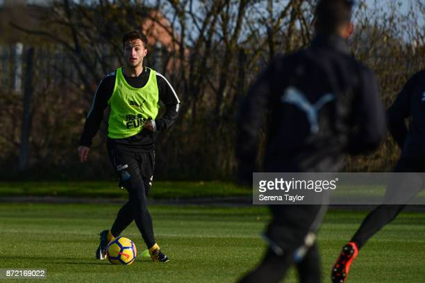 Jamie Sterry controls the ball during the Newcastle United Training session at the Newcastle Untied Training Centre on November 9 2017 in Newcastle...