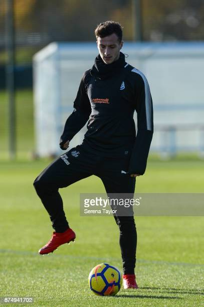 Jamie Sterry controls the ball during the Newcastle United Training session at the Newcastle Untied Training Centre on November 16 in Newcastle upon...