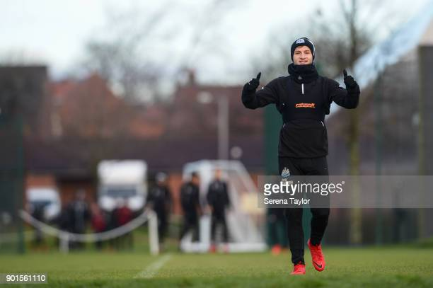 Jamie Sterry gives the thumbs up during the Newcastle United training session at the Newcastle United Training Centre on January 5 in Newcastle upon...