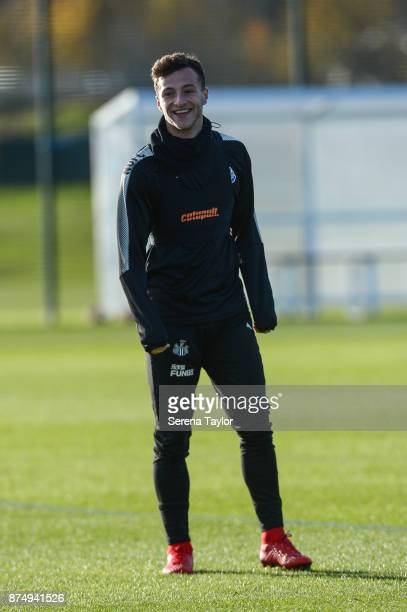 Jamie Sterry laughs during the Newcastle United Training session at the Newcastle Untied Training Centre on November 16 in Newcastle upon Tyne England