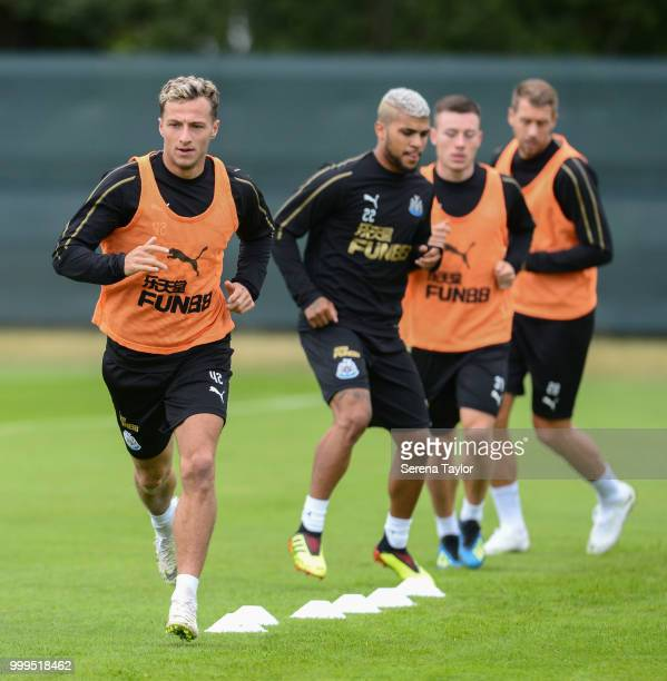 Jamie Sterry leads the warm up during the Newcastle United Training session at Carton House on July 15 in Kildare Ireland