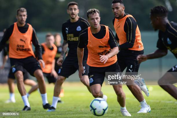 Jamie Sterry looks determined during the Newcastle United Training session at Carton House on July 14 in Kildare Ireland