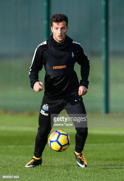 Jamie Sterry looks to pass the ball during the Newcastle United Training session at The Newcastle United Training Centre on November 2 in Newcastle...