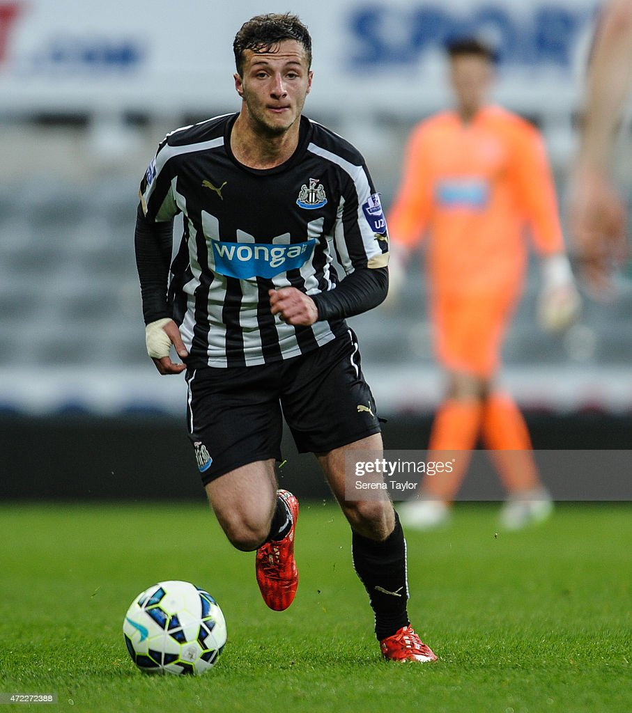 Jamie Sterry of Newcastle runs with the ball during the Under 21 Premier League match between Newcastle United and Blackburn Rovers at St. James' Park on May 5, 2015, in Newcastle upon Tyne, England, United Kingdom.