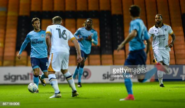 Jamie Sterry of Newcastle United controls the ball during the EFL Checkatrade Trophy match between Port Vale and Newcastle United at Vale Park on...