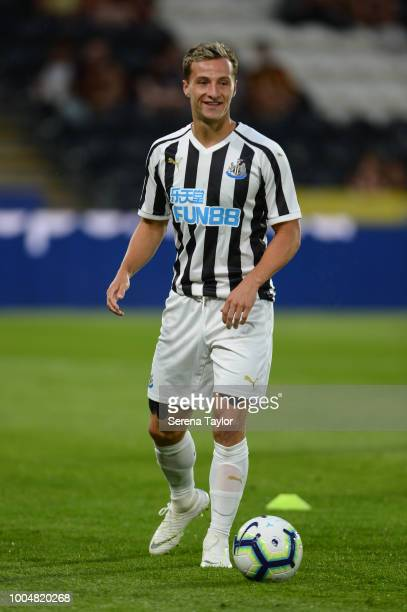 Jamie Sterry of Newcastle United controls the ball during the pre season friendly between Hull City and Newcastle United at the KCOM stadium on July...