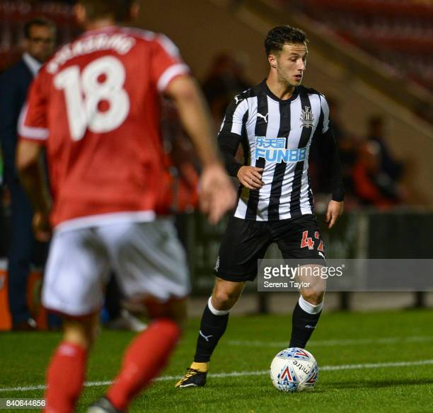 Jamie Sterry of Newcastle United controls the ball during the Checkatrade Trophy Match between Crewe Alexandra and Newcastle United at Gresty Road on...