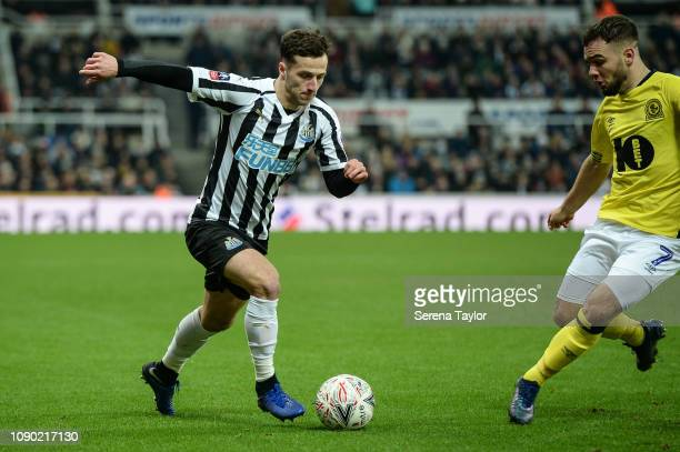 Jamie Sterry of Newcastle United controls the ball whilst ex Newcastle player Adam Armstrong now of Blackburn Rovers looks to tackle during the FA...
