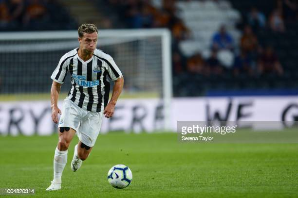 Jamie Sterry of Newcastle United runs with the ball during the pre season friendly between Hull City and Newcastle United at the KCOM stadium on July...