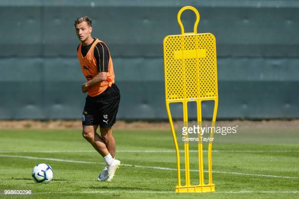 Jamie Sterry passes the ball during the Newcastle United Training session at Carton House on July 14 in Kildare Ireland