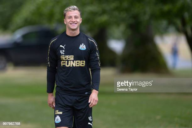 Jamie Sterry smiles during the Newcastle United Training session at Carton House on July 13 in Kildare Ireland