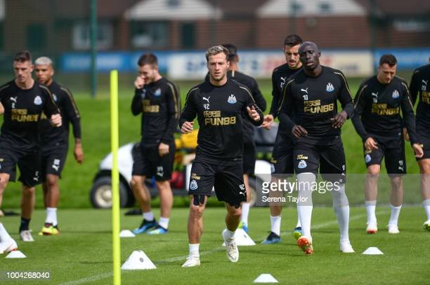 Jamie Sterry warms up during the Newcastle United Training Session at the Newcastle United Training Centre on July 23 in Newcastle upon Tyne England