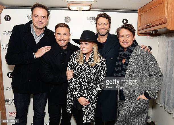 Jamie Theakston Gary Barlow Emma Bunton Howard Donald and Mark Owen attend as the Regent Street Christmas Lights are switched on by Take That at...
