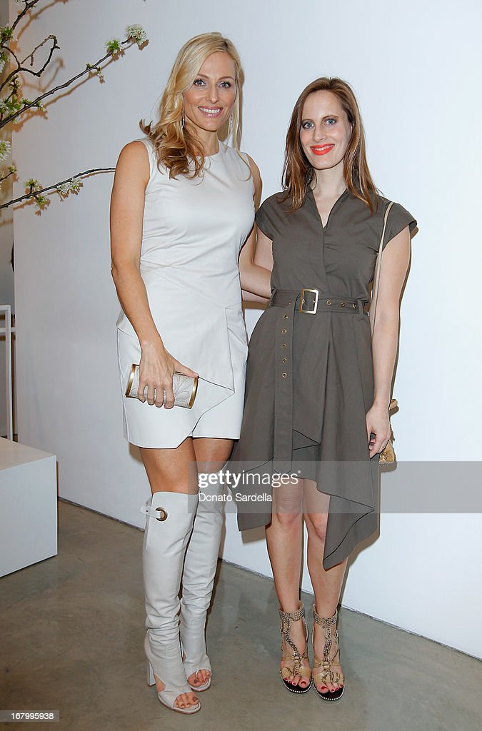 Jamie Tisch and Liz Goldwyn attend a cocktail reception hosted by Ferragamo to announce the inaugural opening gala for the Wallis Annenberg Center for the Performing Arts at Gagosian Gallery on May 3, 2013 in Beverly Hills, California.