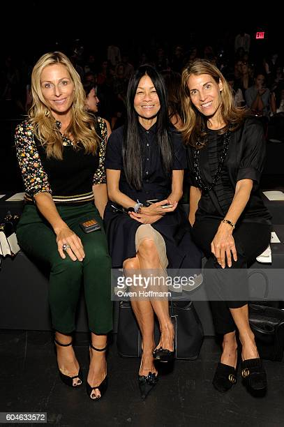 Jamie Tisch, Helen Lee Schifte and guest attend the Dennis Basso SS17 fashion show during New York Fashion Week at The Arc, Skylight at Moynihan...
