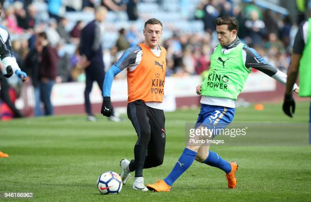 Jamie Vardy and Ben Chilwell of Leicester City during the warm up at Turf Moor ahead the Premier League match between Burnley and Leicester City at...