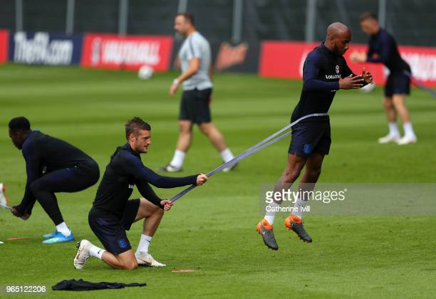 Jamie Vardy and Fabian Delph take part during the England training session at The Grove Hotel on June 1 2018 in Hertford England
