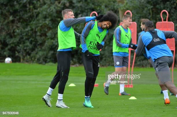 Jamie Vardy and Hamza Choudhury during the Leicester City training session at Belvoir Drive Training Complex on April 05 2018 in Leicester United...