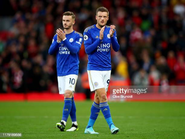 Jamie Vardy and James Maddison of Leicester City applauds fans after the Premier League match between Liverpool FC and Leicester City at Anfield on...