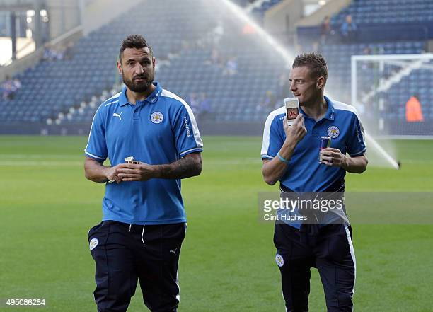 Jamie Vardy and Marcin Wasilewski of Leicester City arrive at the ground during the Barclays Premier League match between West Bromwich Albion and...