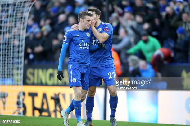 Jamie Vardy and Matty James of Leicester City after a Jack Butland of Stoke City own goal makes it 11 during the Premier League match between...